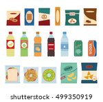 fast food snacks and drinks... | Shutterstock .eps vector #499350919