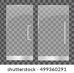 transparent glass doors ... | Shutterstock .eps vector #499360291