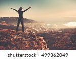 woman standing on top of a... | Shutterstock . vector #499362049