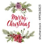 watercolor christmas print with ...   Shutterstock . vector #499363825
