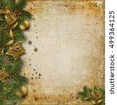 christmas border with fir... | Shutterstock . vector #499364125
