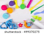 plasticine and tools are on... | Shutterstock . vector #499370275