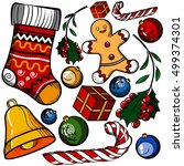 christmas colored toy set | Shutterstock .eps vector #499374301