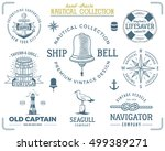 vintage nautical stamps set.... | Shutterstock . vector #499389271