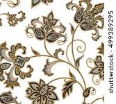 flourish tiled pattern. floral... | Shutterstock .eps vector #499389295
