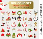 big set of flat christmas icons.... | Shutterstock .eps vector #499400824