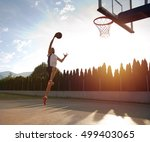 young man jumping and making a... | Shutterstock . vector #499403065