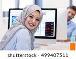 young arabic business woman... | Shutterstock . vector #499407511