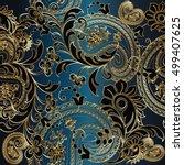 paisleys floral  elegant vector ... | Shutterstock .eps vector #499407625