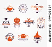 orange halloween vector badges... | Shutterstock .eps vector #499409539