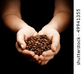 female hands cupped holding coffee beans - stock photo