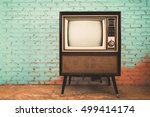 retro old television in vintage ... | Shutterstock . vector #499414174