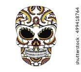 ornate skull style zentangl ... | Shutterstock .eps vector #499418764