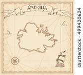 antigua old treasure map. sepia ... | Shutterstock .eps vector #499420624
