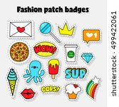 fashion patch badges with words ... | Shutterstock .eps vector #499422061