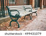 Wooden Bench On The Street In...