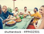people relaxation beach rest... | Shutterstock . vector #499432501