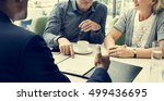 business discussion talking... | Shutterstock . vector #499436695