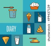 assortment of different dairy... | Shutterstock .eps vector #499437139