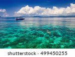 young man snorkeling in... | Shutterstock . vector #499450255