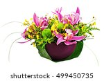bouquet from orchids and lilies ... | Shutterstock . vector #499450735