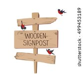 wooden sign with bullfinches... | Shutterstock .eps vector #499453189