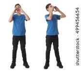 cute teenager boy in blue t... | Shutterstock . vector #499456654