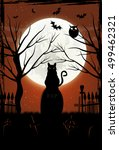 halloween background with black ... | Shutterstock .eps vector #499462321