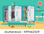 interior of a gym locker room....   Shutterstock .eps vector #499462429
