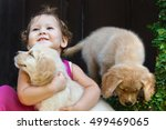 funny photo of happy baby girl... | Shutterstock . vector #499469065