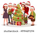 big happy family decorates the... | Shutterstock .eps vector #499469194