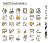 cleaning   thin line icons set  ... | Shutterstock .eps vector #499471951