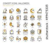 halloween   thin line and pixel ... | Shutterstock .eps vector #499475335