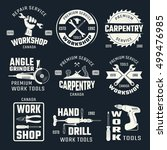 Work Tools Monochrome Emblems...
