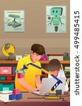a vector illustration of kids... | Shutterstock .eps vector #499485415