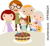 family celebrating birthday | Shutterstock .eps vector #49948624