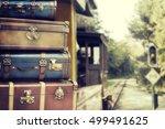 vintage pile ancient suitcases  | Shutterstock . vector #499491625