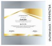 vector certificate template....   Shutterstock .eps vector #499496764