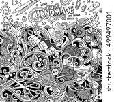 cartoon cute doodles hand drawn ... | Shutterstock .eps vector #499497001