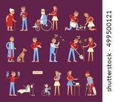 set of volunteers characters in ... | Shutterstock .eps vector #499500121