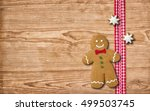 a gingerbread man on a wooden... | Shutterstock . vector #499503745