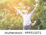 happy asian man in the garden...   Shutterstock . vector #499511071