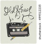 old school audio cassette with... | Shutterstock .eps vector #499512235