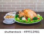 roasted turkey stuffing... | Shutterstock . vector #499513981