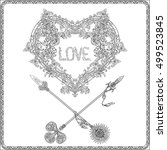 decorative love heart with... | Shutterstock .eps vector #499523845