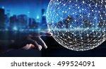 businessman touching abstract... | Shutterstock . vector #499524091