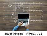 top view of architect drawing... | Shutterstock . vector #499527781