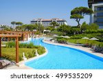 Small photo of BELEK, TURKEY - JULY 20, 2007: Luxury all-inclusive BELCONTI resort hotel with beautiful swimming pool, Belek, Turkey