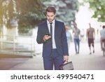 lawyer  using smart phone on... | Shutterstock . vector #499540471