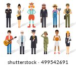 set of diverse occupation... | Shutterstock .eps vector #499542691